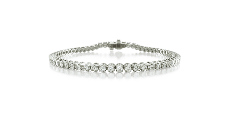 14K White Gold Four Prong Lab Created Diamond Tennis Bracelet