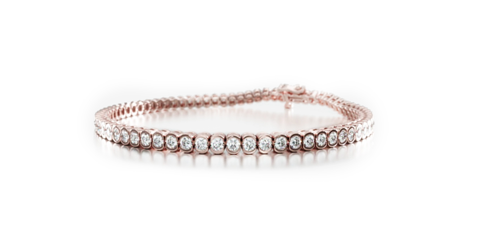 14K Rose Gold Bezel Diamond Tennis Bracelet