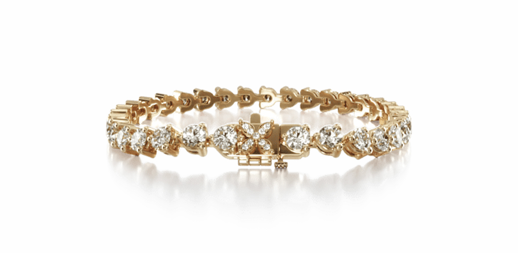14K Yellow Gold Three Prong Flower Clasp Diamond Tennis Bracelet