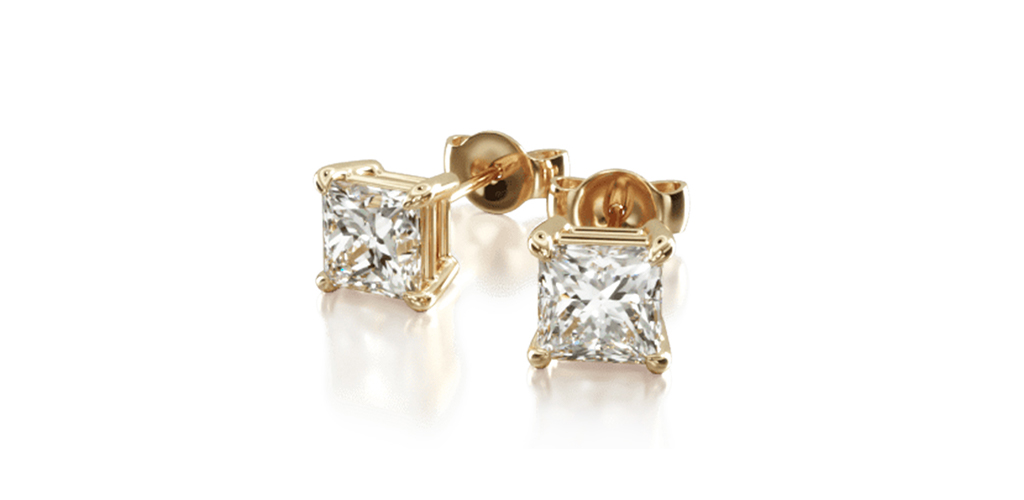 14K Yellow Gold Princess Cut Diamond Stud Earrings