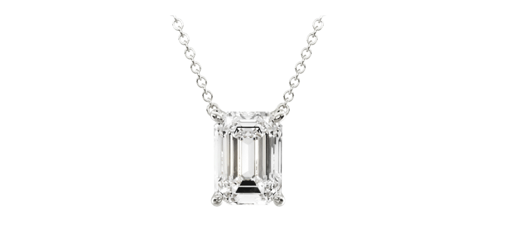 14K White Gold Emerald Cut Shape Diamond Solitaire Pendant