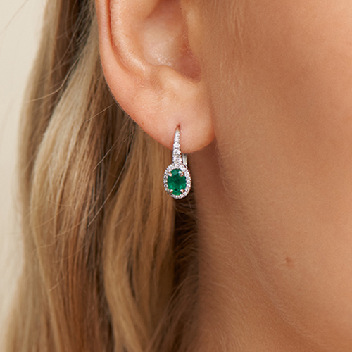 18K White Gold Petite Drop Oval Halo Emerald And Diamond Earrings