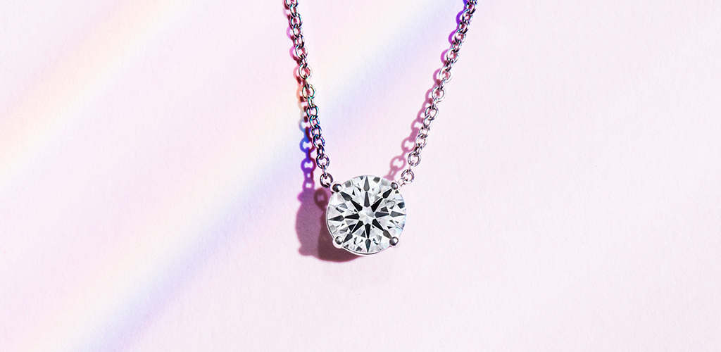 14K White Gold Four Prong Basket Solitaire Diamond Pendant
