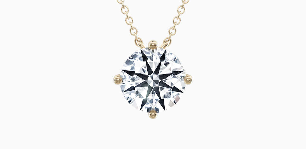 14K Yellow Gold Kite Set Solitaire Diamond Pendant