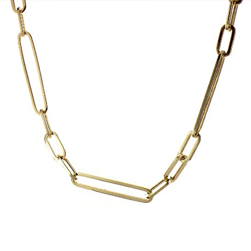 14K Yellow Gold 5.1mm Alternating Paper Clip Chain Necklace