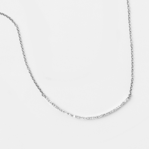14K White Gold Curving Diamond Bar Necklace