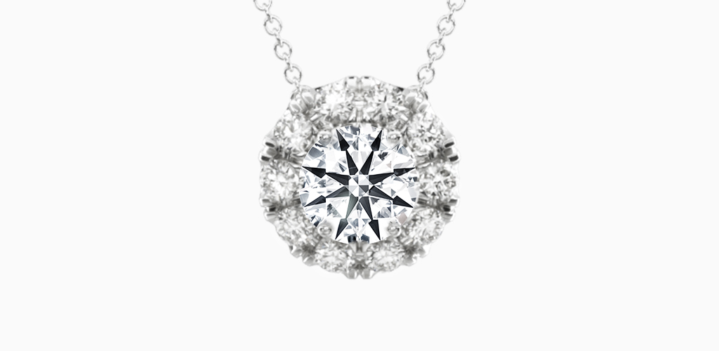 14K White Gold Halo Lab Created Diamond Pendant