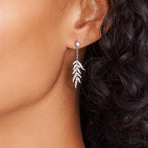 14K White Gold Leaves Cascade Diamond Drop Earrings