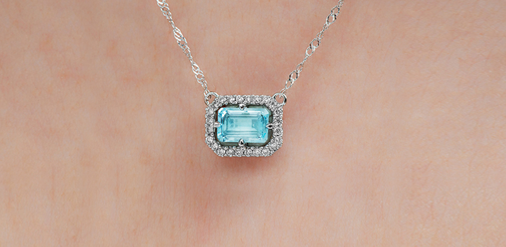 14K White Gold Aquamarine And Diamond Floating Halo Necklace