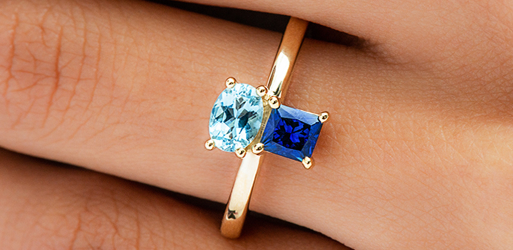 Dual-Blue Sapphire and Aquamarine Ring