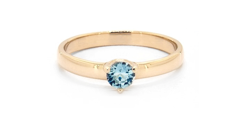 14K Yellow Gold 2.3mm Aquamarine Solitaire Birthstone Ring