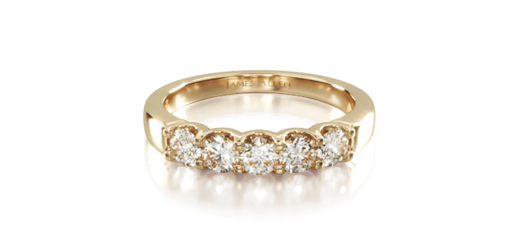 14K Yellow Gold Five Stone Shared Prong Contour Diamond Ring