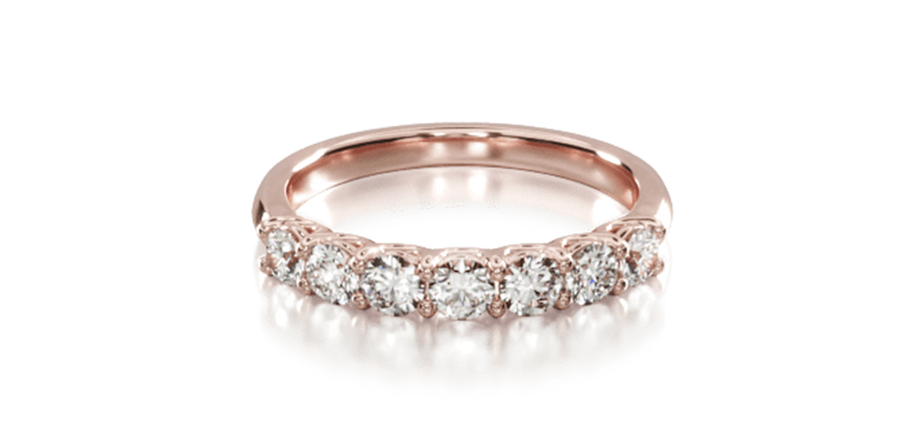 14K Rose Gold Seven Stone Low Dome Basket Diamond Ring