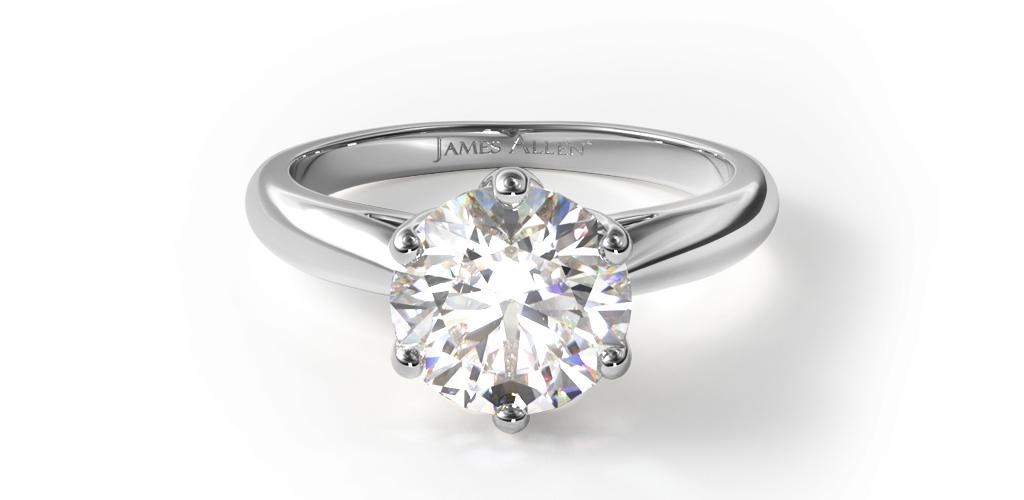 14K White Gold Modern Tulip Diamond Engagement Ring