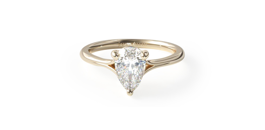 14K Yellow Gold Pear Shaped Classic Split Shank Solitaire Diamond Engagement Ring