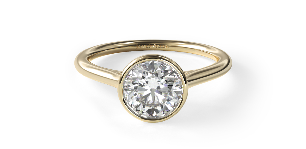 14K Yellow Gold Comfort Fit Bezel Set Solitaire Engagement Ring