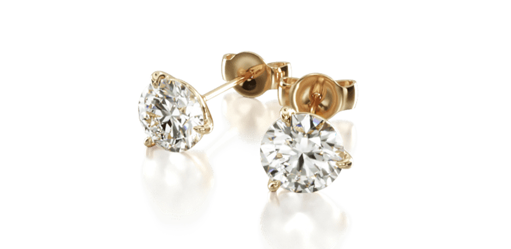 14K Yellow Gold Three Prong Martini Round Brilliant Diamond Stud Earrings