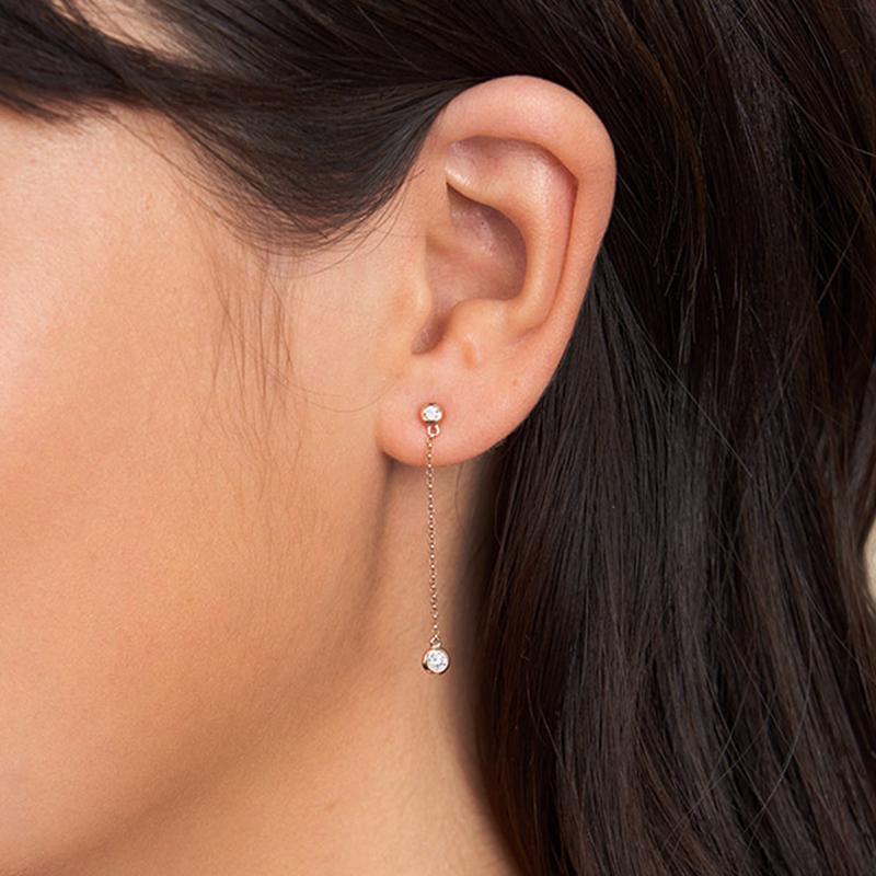 14K Rose Gold Bezel Set Chain Drop Diamond Earrings