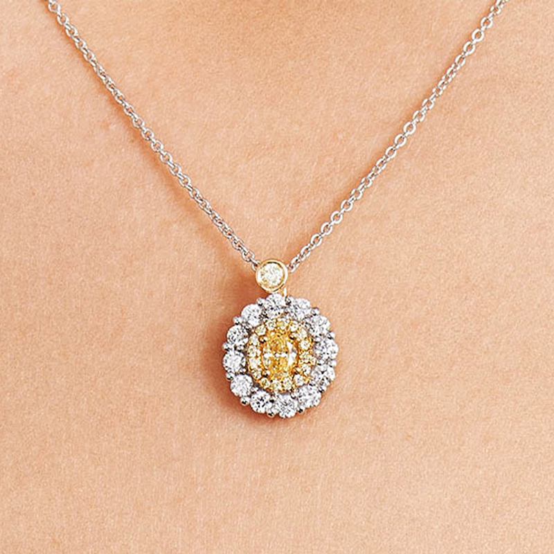18K White And Yellow Gold Fancy Yellow Diamond Cluster Oval Necklace