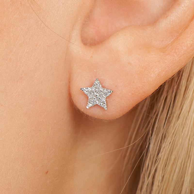 14K White Gold Star Diamond Earrings