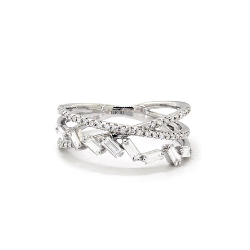 14K White Gold Criss-Cross Baguette And Pavé Diamond Ring