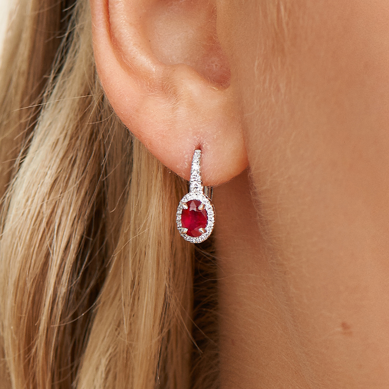 18K White Gold Petite Drop Oval Halo Ruby And Diamond Earrings
