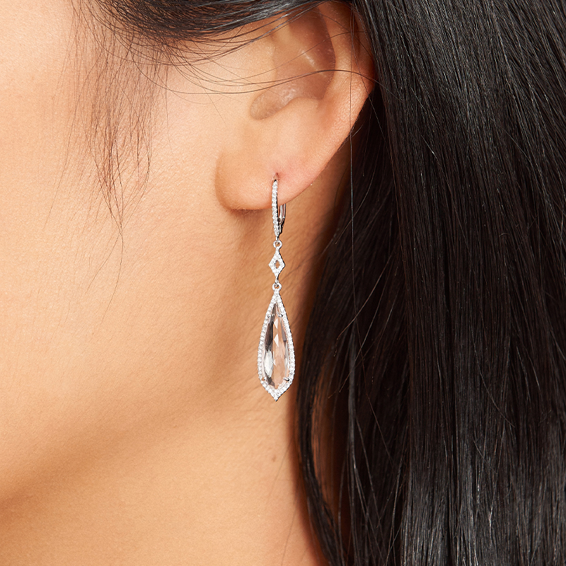 14K White Gold Elongated Pear White Topaz And Diamond Drop Earrings