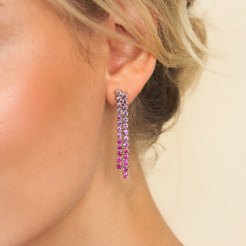 14K White Gold Dangling Ombre Ruby To Pink Sapphire Drop Earrings