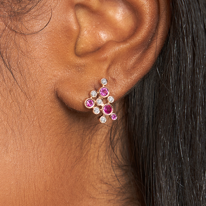 14K Rose Gold Bubble Pink Sapphire And Diamond Earrings