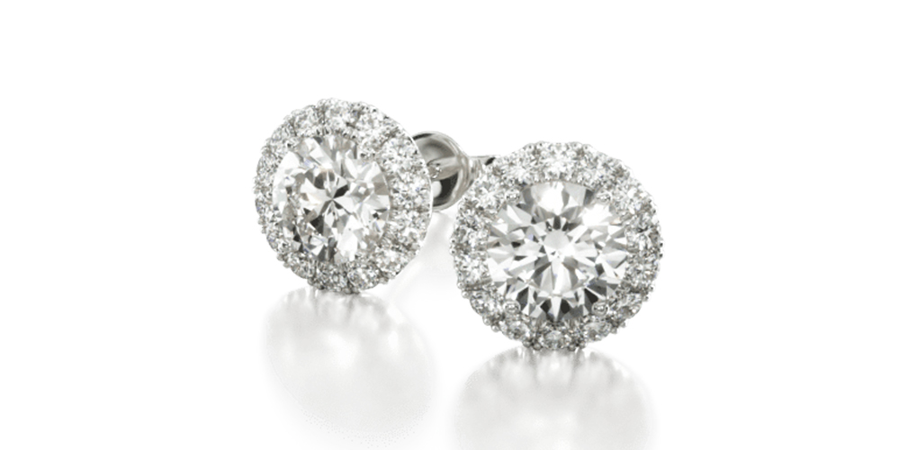 14K White Gold Halo Lab Created Diamond Stud Earrings