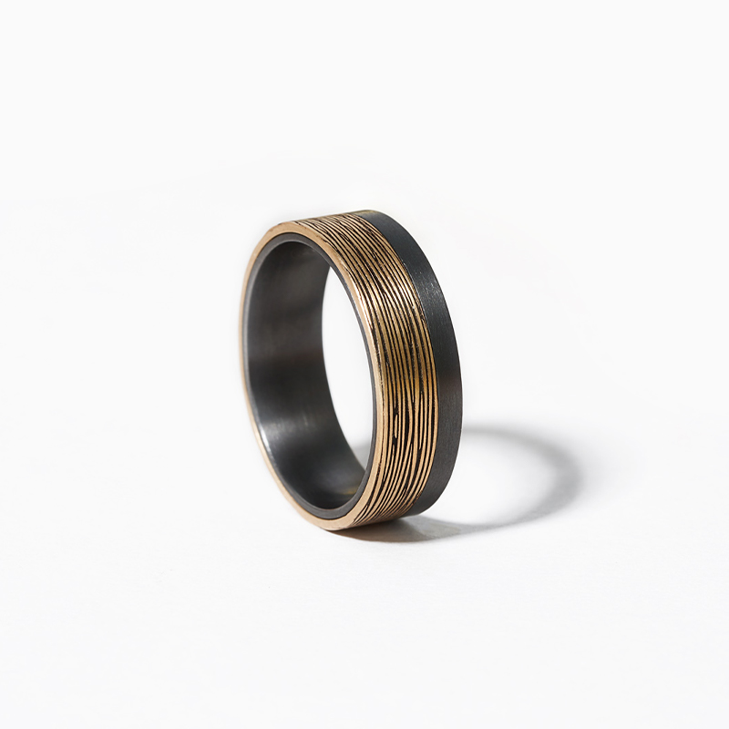 14K Yellow Gold And Tantalum 7mm Asymmetrical Bark Pattern Ring
