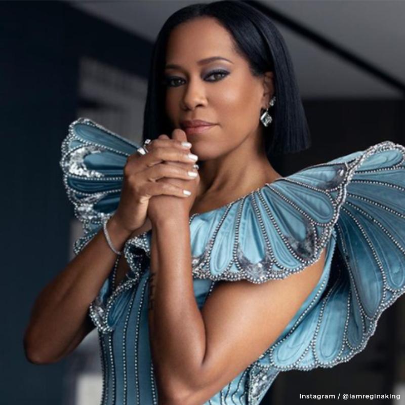 Regina King in a butterfly dress