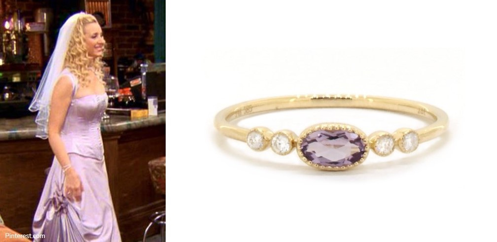 The Lavender Wedding Dress - Phoebe Buffay with Amethyst and Diamond Ring