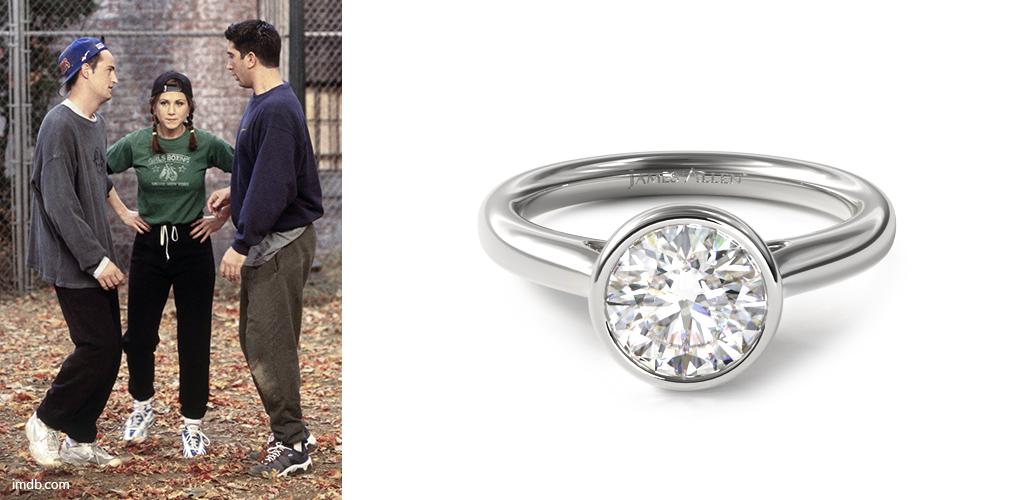 Football - Citrine Drop Rachel Green with Platinum Bezel-Set Engagement Ring