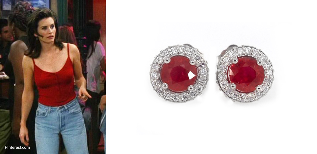 Red Tank - Monica Geller with Ruby and Diamond Earrings