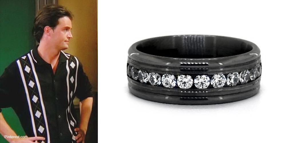 Bowling Shirt - Chandler Bing with Tantalum Channel-Set Men's Wedding Ring
