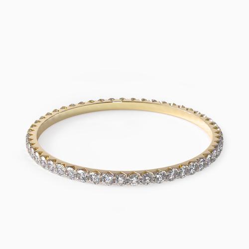 14K Yellow Gold Ladies 0.50ctw* Angled Common Prong Diamond Eternity Ring