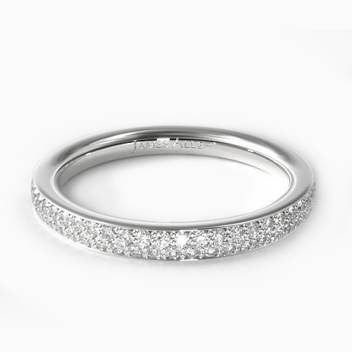 14K White Gold Double Row Pave Ring