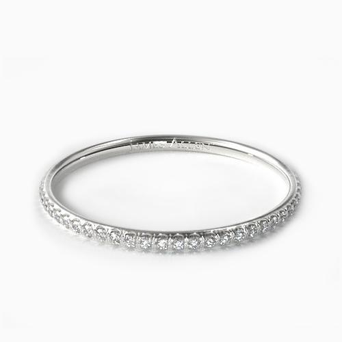 14K White Gold U Pave Rounded Wedding Ring