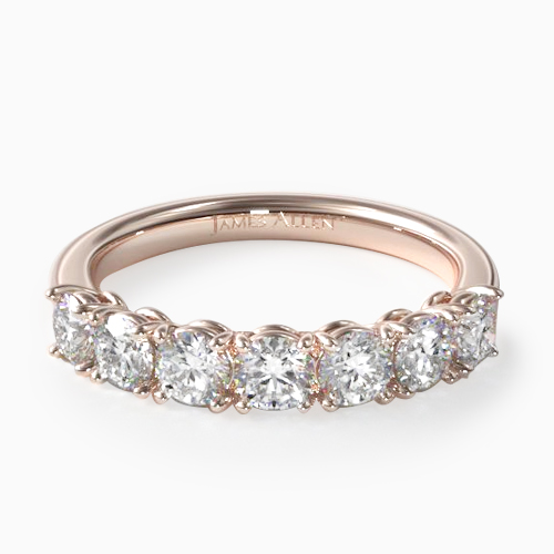 14K Rose Gold Prong Set Matching Wedding Ring