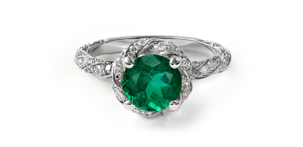 1.82 Carat Round Natural Green Emerald Twisted Pave Halo Engagement Ring