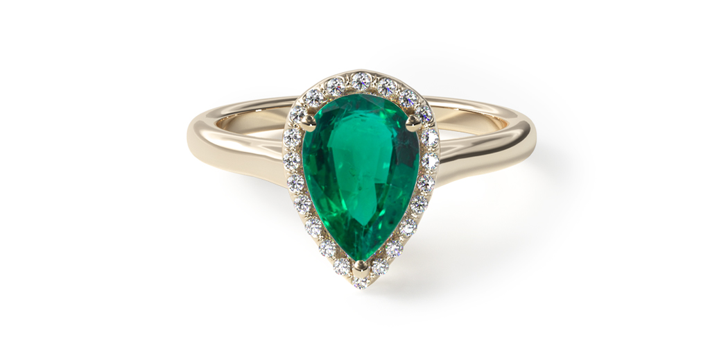 1.64 Carat Pear Natural Green Emerald Pave Halo Diamond Engagement Ring (Pear Center)