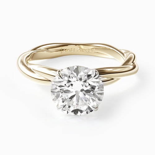 14K Yellow Gold Rope Solitaire Engagement Ring
