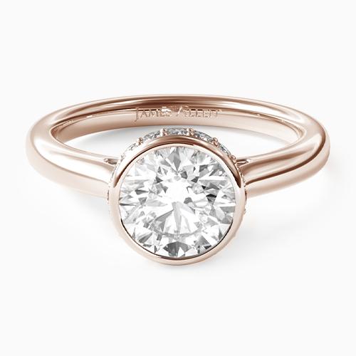 14K Rose Gold Pave Crown Bezel Engagement Ring