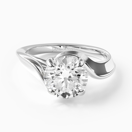 14K White Gold Bypass Engagement Ring