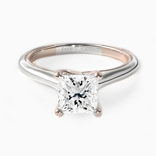 14K Gold Two-Tone 1.8mm Comfort-Fit Modern Twisted Solitaire Engagement Ring