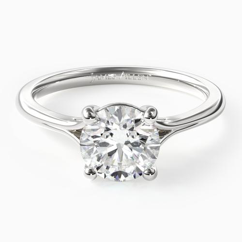 14K White Gold Classic Split Shank Solitaire Diamond Engagement Ring