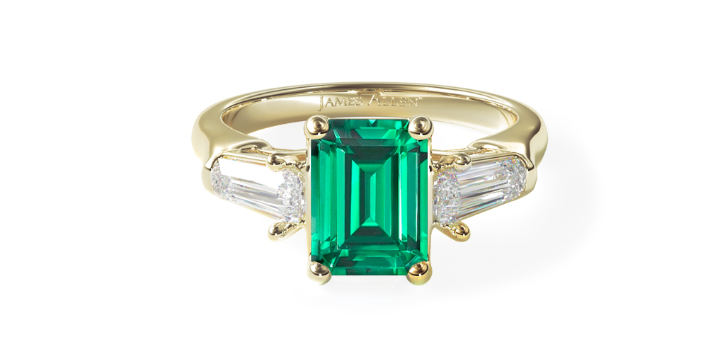 1.78 Carat Emerald Natural Green Emerald Tapered Baguette Three Stone Diamond Engagement Ring
