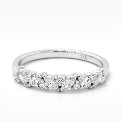14K White Gold Marquise And Round Array Diamond Ring