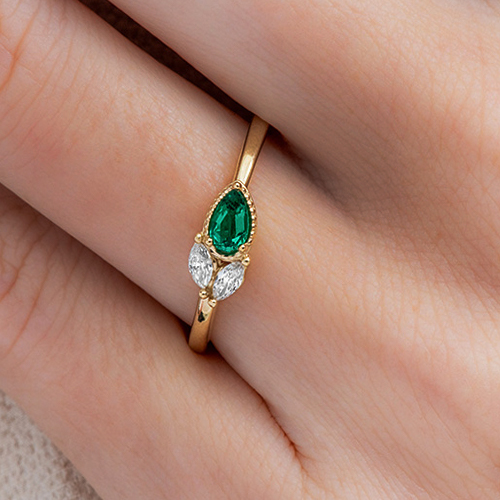 14K Yellow Emerald And Diamond Cluster Ring